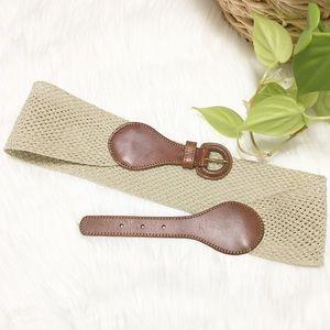 Ann Taylor LOFT Cream and Gold Woven Belt